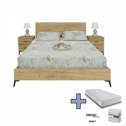 Διπλό Κρεβάτι Silver με Στρώμα